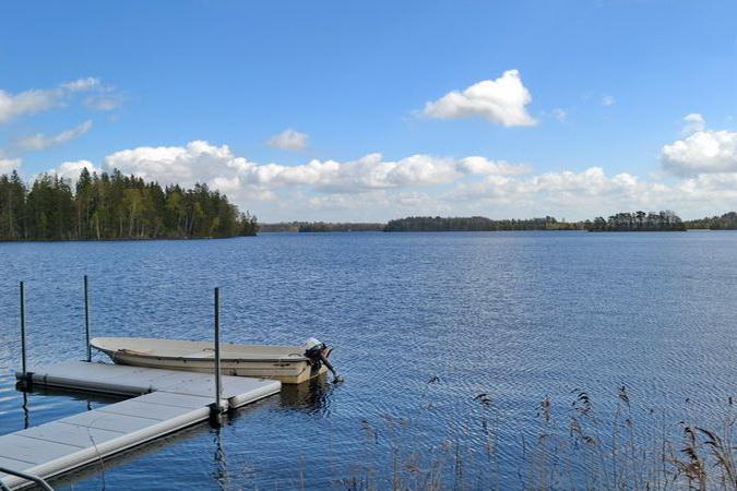 """Blick über den großen See """"Nömmen"""" (sehr gutes Angelgewässer!)"""