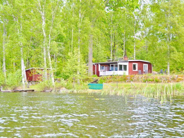 Blick vom See aufs Haus (links im Bild: die eigene Sauna)