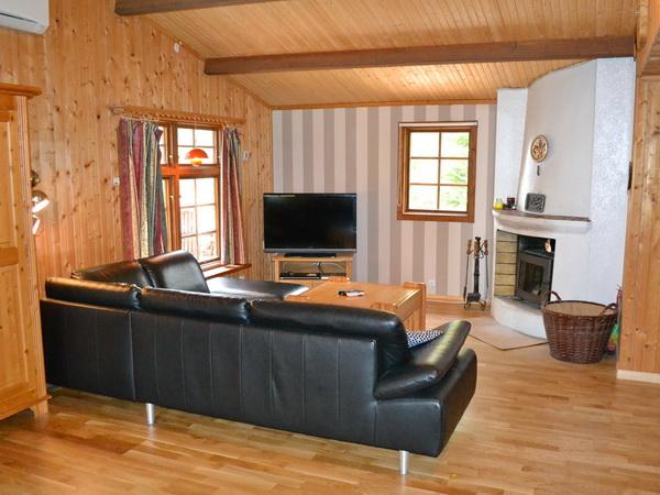 Wohnzimmer mit Kamin und Seeblick