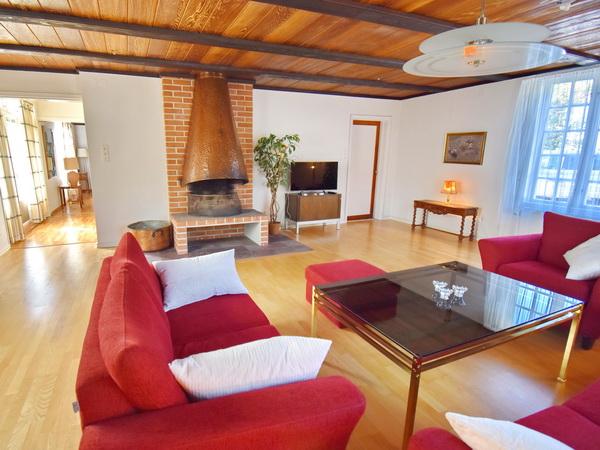 Wohnzimmer mit Kamin und deutschem TV