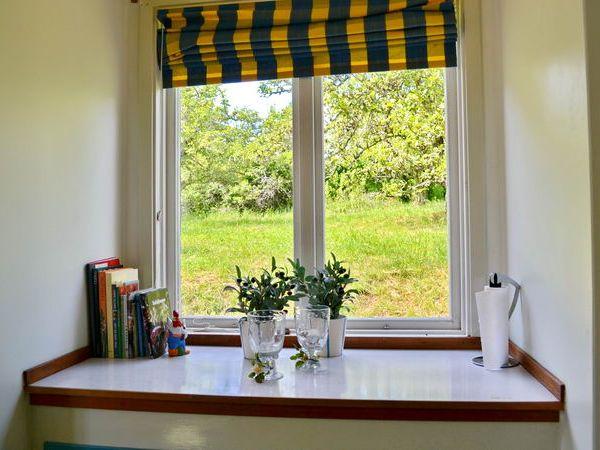 Blick aus der Küche in den Garten mit Obstbäumen