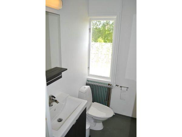 das moderne Bad mit WC und Dusche