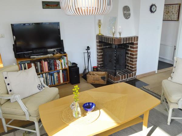 TV (nur schwedische Programme) und Kamin im Wohnzimmer