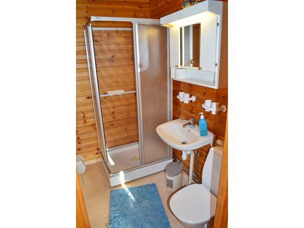 Badezimmer mit WC und Dusche, kleines Haus