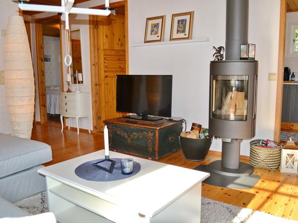 Kamin und TV (schwedische Programme) im Wohnzimmer