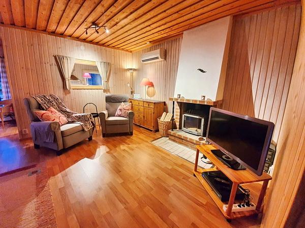 Wohnbereich mit Kamin und deutschem Sat-TV