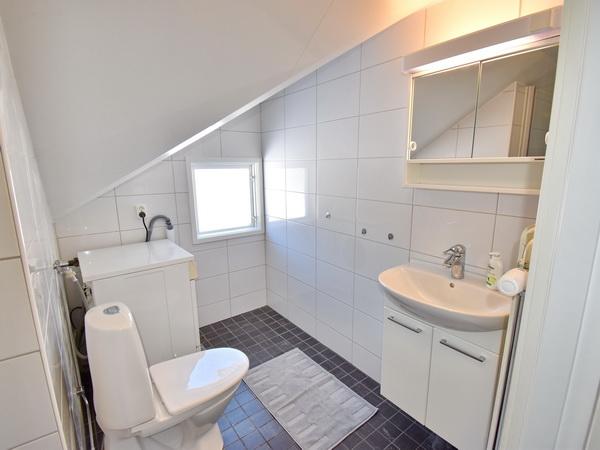 Badezimmer mit WC, Waschmaschine und Dusche im Obergeschoss