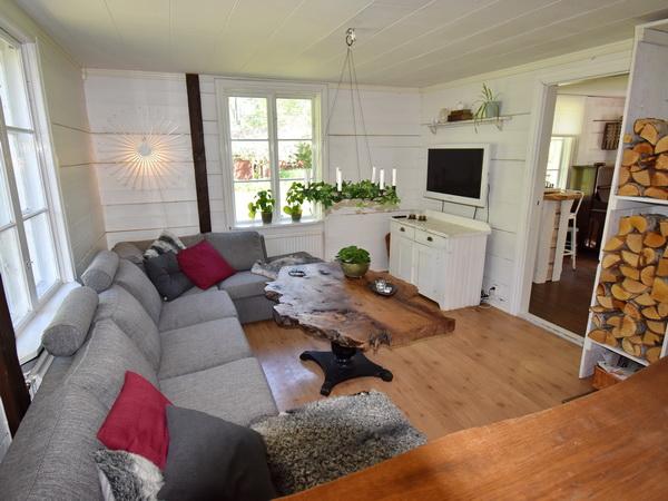 Wohnbereich mit Kamin und TV (schwedische Programme)