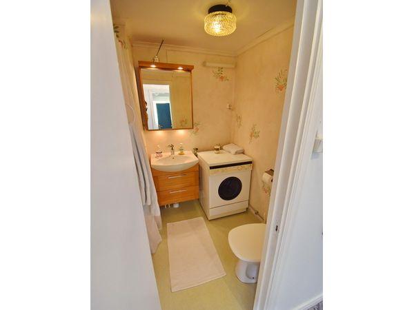 Badezimmer im Erdgeschoss mit WC, Waschmaschine und Dusche