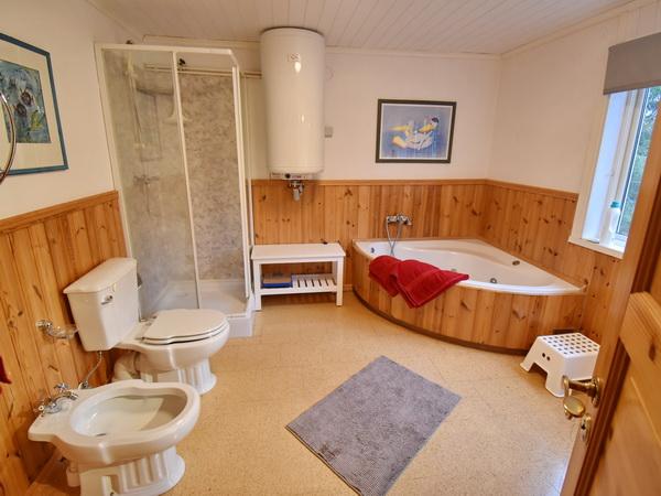 Badezimmer 1 mit WC, Dusche, Eckbadewanne und Waschmaschine