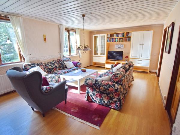 großes Wohnzimmer mit Kaminofen und deutschem Sat-TV